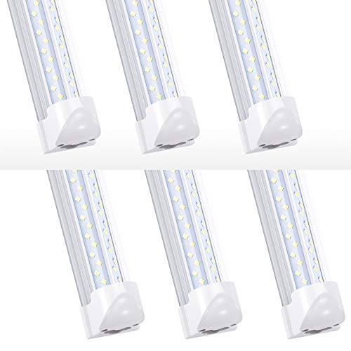 T8 LED Tube Fixture,120W 8FT Linkable Shop Lights, V-Shaped Integrate 8 Foot Light Bulbs,14400LM,Clear Lens 6000K, Plug and Play,Fluorescent Lamp Replacements(6-Pack)