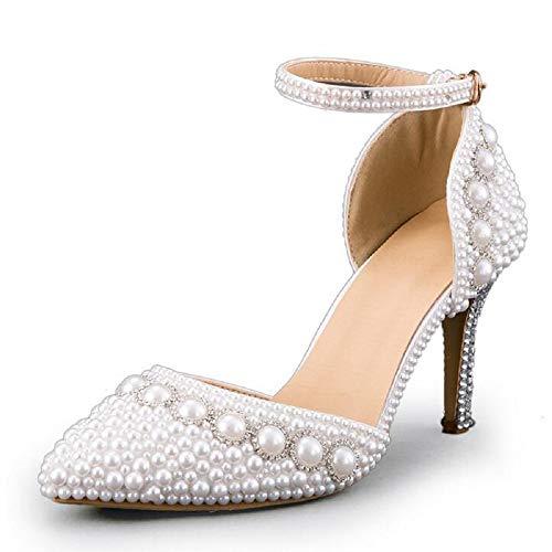 Pumps weiß Perlen Hochzeit High Heels Schuhe Brautschuhe Braut Damenschuhe (36 (wie 35))