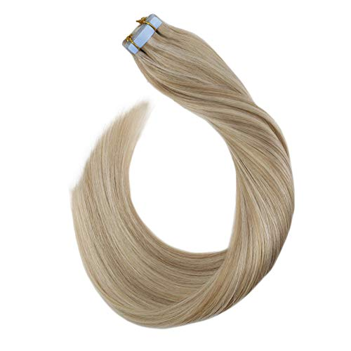 Ugeat 14 Pouces Highlight Blonde Cendree Mixte Blonde Blanchie Extension Cheveux Adhesif Bresilien Humain Tape 2.5Gramme/Piece 20Pcs Glue in Extension Seamless Skin Weft Double Side