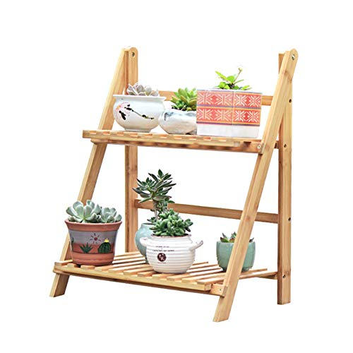 Wood Plant Stand, Floor-Standing Bloempotten Display Stand 2 Tier, met opvouwbare Ladder Design, waterdicht en anti-schimmel, voor Indoor Outdoor,Wood color,50cm