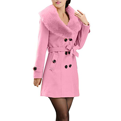 IZHH Mantel Damen Mode Trench Womens Winter Revers Wollmantel Trenchcoat Langarm Mantel Outwear Damen Button Gürtel Langarm Top Jacke(Rosa,XX-Large)