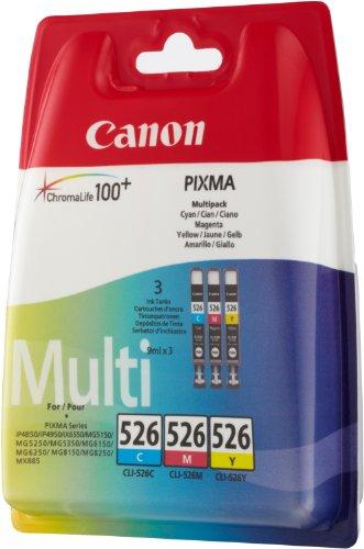 Canon CLI-526 3 Cartuchos Multipack de tinta original Cian/Magenta/Amarillo para Impresora de Inyeccion de tinta Pixma iP4850-4950-Ix6550-MG5150-5250-5350-6150-6250-8150-8250-MX715-885-895