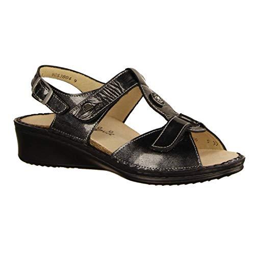 Finn Comfort Adana Argento (grau) - Sandale mit Loser Einlage - Damenschuhe Sandale bequem/lose Einlage, Grau, Leder (spatolack)
