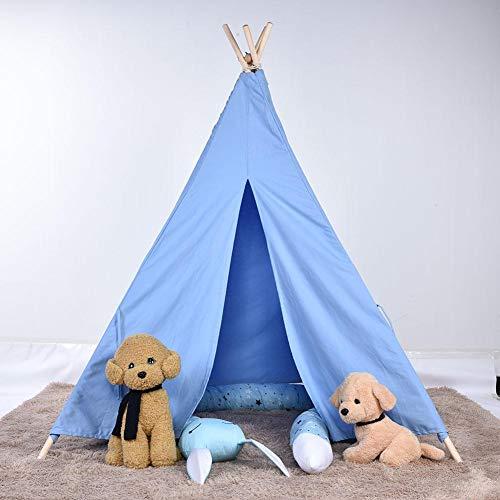 Kinderzelt Spielzelt Zelt Kinder Spiel Ruhe Raum Dekoration Indianer Stil Indoor Outdoor Spilen Zelt mit Fenster, Reine Baumwolle, 150 x 120 x 120cm(Blau)