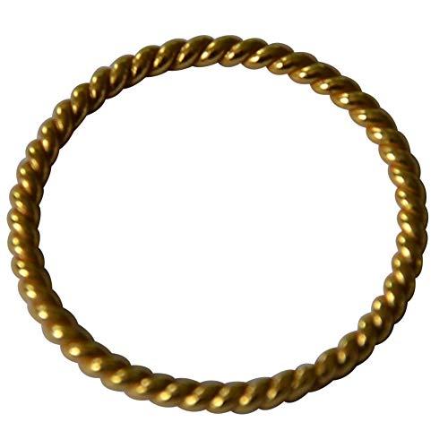 CHICNET Damen Herren Ring Ringe Silberring Fingerringe Fingerschmuck, Silberringe aus 925 Sterling Silber vergoldet, Gold, 1mm schmal, filigran, Seil Optik 56 (17.8)