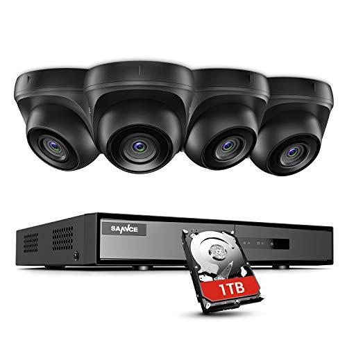 SANNCE Kit di Sorveglianza 1080P Lite DVR TVI 8 Canali 4 Telecamera Sorveglianza Esterno 1080P Kit H.264 ONVIF Motion Detection P2P Cloud Visione Notturna- 1TB HDD