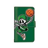 [bodenbaum] Android One S3 手帳型 スマホケース カード スマホ ケース カバー ケータイ 携帯 SHARP シャープ アンドロイド ワン エススリー SoftBank SIMフリー バスケットボール ドクロ 骸骨 g-011 (C.グリーン)