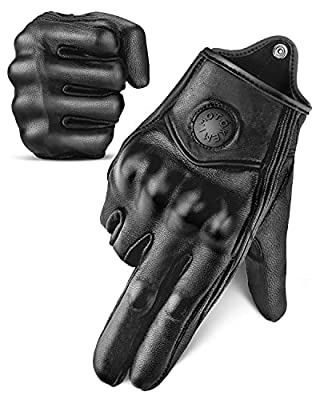 kemimoto Motorcycle Gloves, Leather Motorcycle Riding Gloves for Men and Women, Touchscreen Motorbike Gloves for Motorcross Racing BMX MTB Cycling with Hard Knuckle Black M by kemimoto