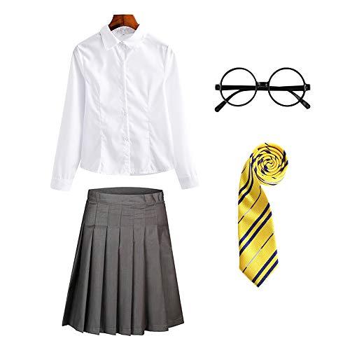 O.AMBW Cosplay Colegiala Estudiante Escuela de Magos y Hechizos para Nias Pequeas Mujeres Adultas Traje Disfraz Completo Gafas Redondas Corbata Multicolor Camisa Blanca Minifalda Gris