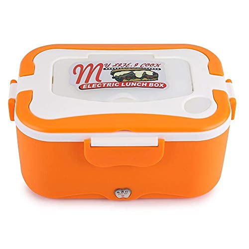 Laqemhu Warmer Lunch, 1.5L Portátil Coche Calefacción Eléctrica Fiambrera Contenedor Calentador de Alimentos para Viajar (Color: Naranja + 24V)