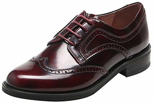 U-lite Women's Perforated Lace-up Wingtip Pure Color Leather Flat Oxfords Vintage Oxford Shoes Burgund-2 8.5