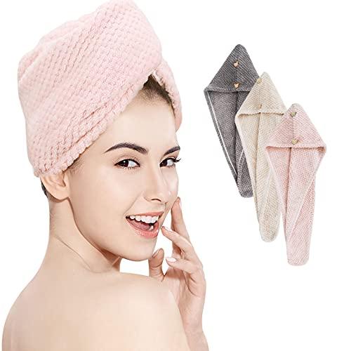 LIWIN Haarturban, 3 Stück Turban Handtuch Mikrofaser-Haartuchwickel Haartrocknerkappe Extra Saugfähig Schnelltrocknend Haarhandtuch Haartrockentuch mit Knopfverschluss für Alle Haartypen