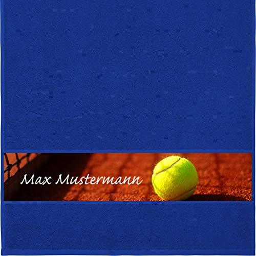 Manutextur Handtuch mit Namen - personalisiert - Motiv Sport - Tennis - viele Farben & Motive - Dusch-Handtuch - Royalblau - Größe 50x100 cm - persönliches Geschenk mit Wunsch-Motiv und Wunsch-Name