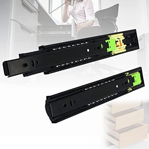 ZPCSAWA 2 Piezas 300 mm Rieles para Cajones Extensión De Cajón De Alta Resistencia Deslizamiento Telescópico Negro Extensión Completa con Rebote con un Clic para Abrir (Size : 350mm-14in)