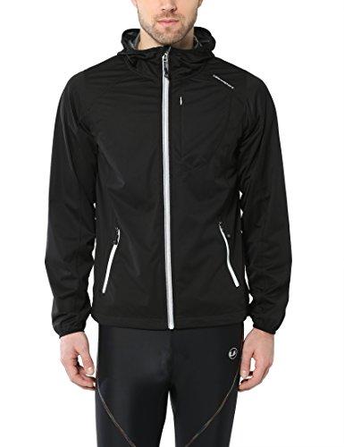 Ultrasport Chaqueta multifuncional de hombre Endy con Ultraflow 3.000, ligera y transpirable; por este motivo, ideal como chaqueta de correr, de entrenamiento o de ciclismo, impermeable y resistente al viento, Negro, 2XL