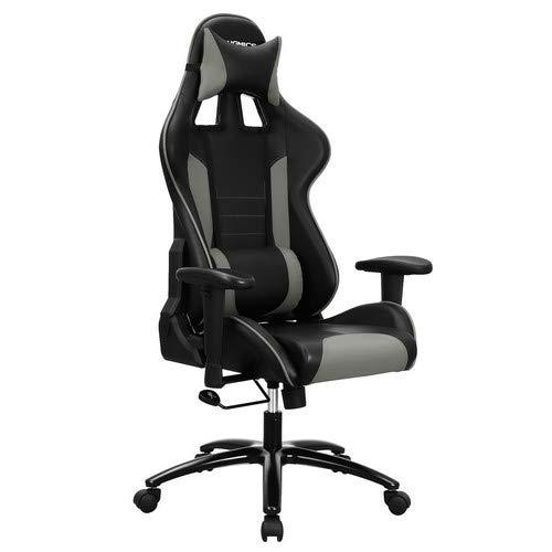 Songmics RCG17GY Gamingstoel, bureaustoel met kantelfunctie en verstelbare armleuningen, ergonomische computerstoel met lederen kussens en hoofdsteun, eenvoudige montage, 120 kg, zwart-grijs