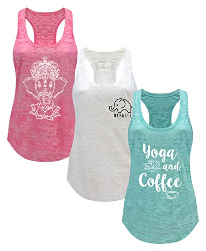 Tough Cookie's Women's Burnout Elephant Lotus Small Yoga Coffee Tank Top 3 Pack (Small - LF, Neon Pink/White/Mint)