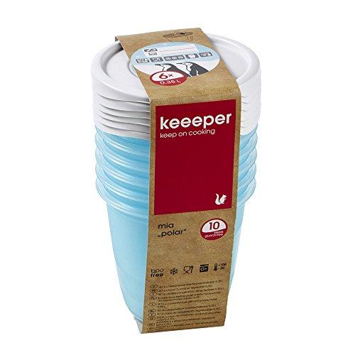 Keeeper Freeze voedseldoos Mia Polar 0,35L rond 6 stuks in blauw, Polypropyleen, 9,5 x 9,5 x 9 cm
