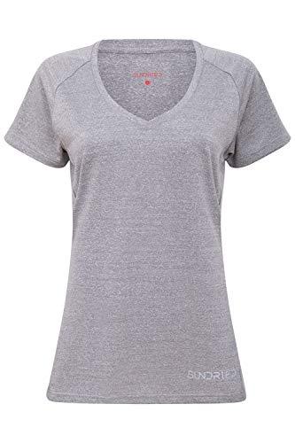 Sundried Womens Scollo a V Fitness T-Shirt da Allenamento Activewear Palestra Sportivo da Donna Yoga Corso Top (Grigio, M)