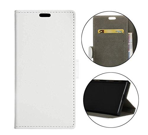 Sunrive Hülle Für bq Aquaris X2/X2 PRO, Magnetisch Schaltfläche Ledertasche Schutzhülle Hülle Handyhülle Schalen Handy Tasche Lederhülle(Ebene weiß)+Gratis Universal Eingabestift