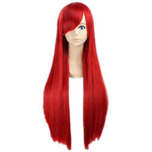 COSPLAZA Cosplay Kostueme Peruecke Fairy Tail Erza Scarlet gerade lang Rot Anime Haar