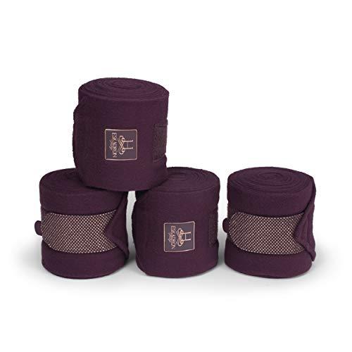 Eskadron Heritage Fleecebandagen 4er Set mit Glitzer - Meshmaterial, deepberry, Black, ivorygrey Größe Warmblut, Farbe deepberry