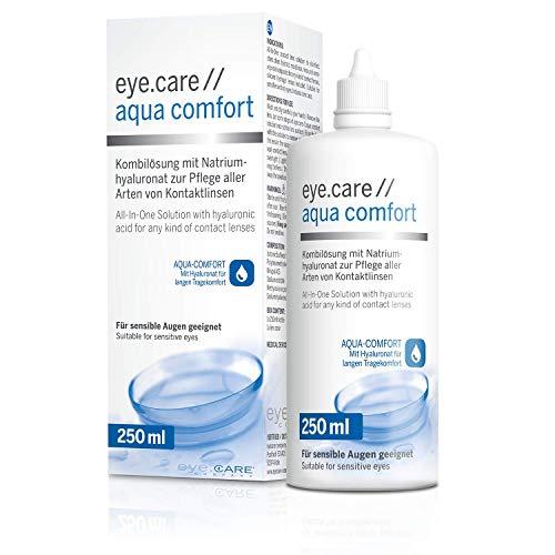 Eye.care Aqua Comfort Pflegemittel Premium All-in-One Kombilösung mit Hyaluron für alle weichen Kontaktlinsen inkl. antibakteriellen Behälter 250 ml