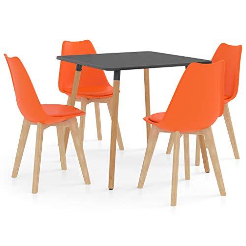 vidaXL Juego de Comedor 5 Piezas Muebles Restaurante Hogar Moderno Cocina Terraza Interior Asiento Mesa Silla Suave con Respaldo Naranja