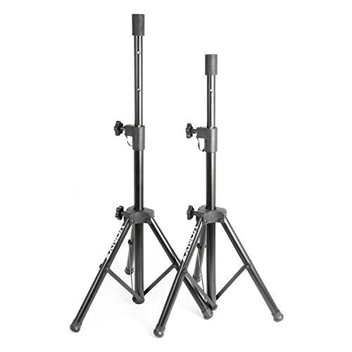 Vonyx PA Lautsprecherstativ-Paar Lautsprecher-Boxenständer Set (Standard-Flansch, Höhenverstellbar 69-135 cm, zusammenklappbar, 20 kg Belastbar je Stativ, Metallkonstruktion) schwarz