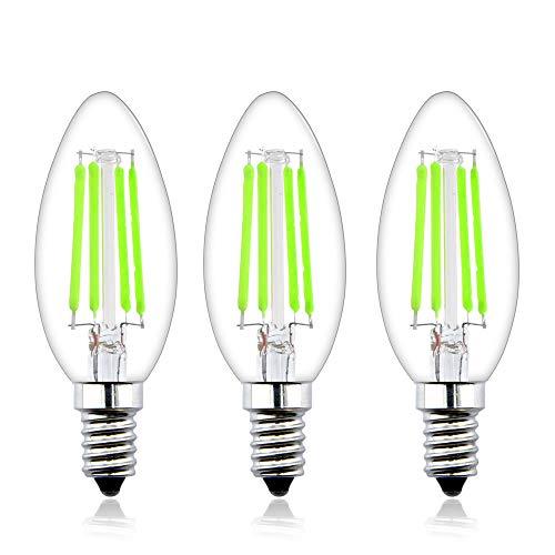 Bonlux 4W E14 LED Kerzenbirne 4W Grün Glühfaden Filament Kleine Edison Screw Retrofit Glühbirne Ersatz für 40W Halogenbirne (3-Stück)