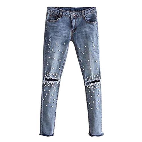 Laisla fashion Vaqueros De Mujer Vaqueros Rectos Pantalones De Pantalones Clásico Lápiz Estilo Bf Pantalones De Mezclilla Elásticos De Cintura Baja Pantalones De Mezclilla Con Perlas De Remache Vaquer