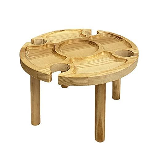 Mesa de vino al aire libre Escritorio de picnic de madera portátil Mesa de playa redonda plegable con estante de vidrio y bandeja divisoria de alimentos para jardín, playa, camping, senderismo