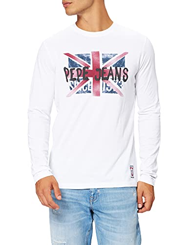 Pepe Jeans Roland L/S Camiseta, Blanco, XL para Hombre
