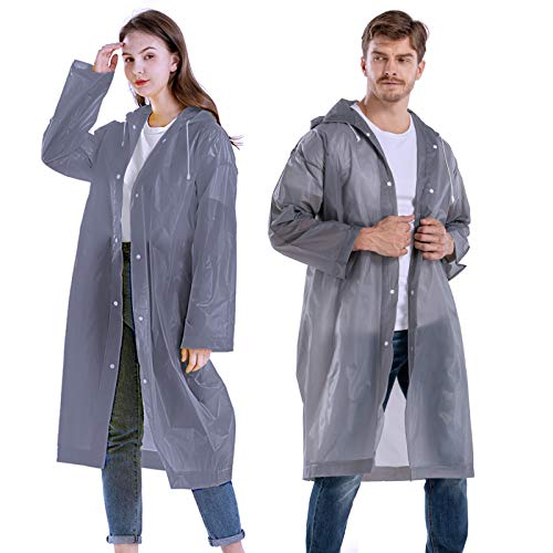 CeroPro Rain Coats for Adults Reusable - 2 Pack EVA Waterproof Rain Ponchos with Drawstring Hood Rain Jackets Raincoats for Men Women Plastic Rain Gear for Disney Hiking Travel (Grey)