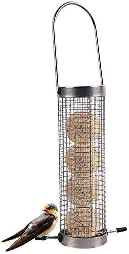 Super Idee Meisenknödelhalter Vogelfutterspender Zum Aufhängen mit Edelstahlgitter Wildvögel Futtersäule für Erdnusskerne Nüsse und Meisenknödel Vogelfutterhaus Futterstation Futterhalter 6,3cm x 21cm