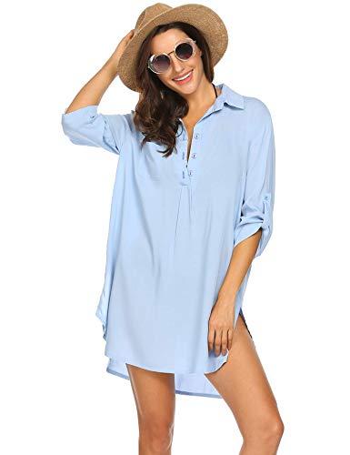 Ekouaer Strandkleid Damen Hemdkleid Frauen Badeanzug Strand vertuschen Shirt Bikini Beachwear Badeanzug Strandkleid Strandponcho Sommer Hellblau,2XL