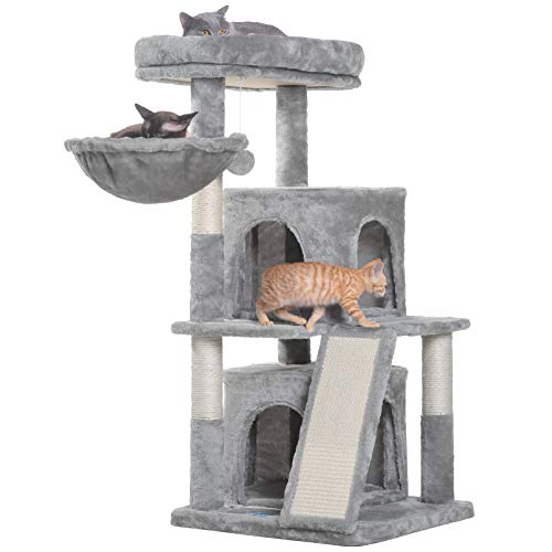 Hey-bro 41.34 inches Cat Tree with Scratching Board, 2 Luxury Condos, Cat Tower with Padded Plush Perch and Cozy Basket, Light gray MPJ004W
