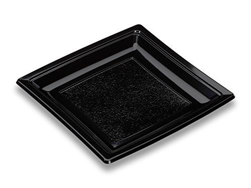 GUILLIN - QUADRIPACK AC185N SACHET DE 50 Assiette Carrée Réutilisable, Polystyrène, Noir, 18,4 x 18,4 x 1,8 cm