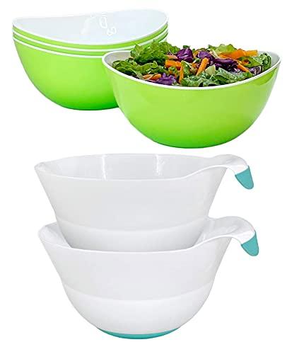 Honla Set of 4 Green Salad Bowls Bundle with Set of two Teal Mixing Bowls (2 Items)