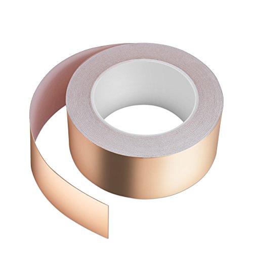 Kupferband 25M x 50mm, Vegena Kupferfolienband EMI Copper Foil Tape Abschirmband Kupferfolie Kupferband Selbstklebend Klebeband Schneckenband Schneckenschutz