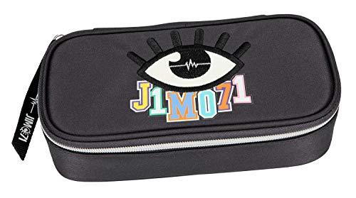 Depesche 10310 - Schlampertasche mit Stiftschlaufen und Geodreieckfach, Lisa und Lena J1MO71, dunkelgrau