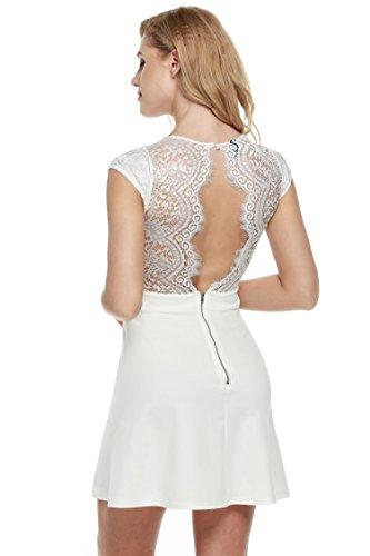 Zeagoo Damen Sexy V-Ausschnitt Spitzenkleid Floral Rückenfrei Cocktailkleid Partykleid Skaterkleid...