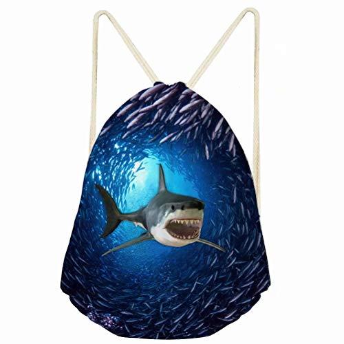 chaqlin 3D Shark Drawstring Bag Kids Gym Sack Backpack School PE Rucksack Creative Storage Bags