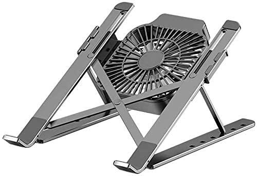 ZUIZUI Soporte para portátil – Soporte de aluminio para portátiles elevador, escritorio ergonómico ventilado, con ventilador de refrigeración, adecuado para una variedad de ordenadores portátiles