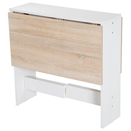 HOMCOM Klapptisch Schreibtisch Arbeitsstation Beistelltisch Esstisch Spanplatte Eiche, Weiß L103 x B76 x H73,5 cm