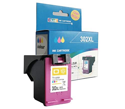 alleda Cartucho de tinta remanufacturado para HP 302XL, potencia: color hasta 450 páginas/% prueba de cobertura, 2 años de garantía (1 cartucho de color)