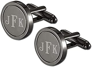 Personalized Gunmetal Stainless Steel Round Ring Cufflinks with Free Laser Engraving