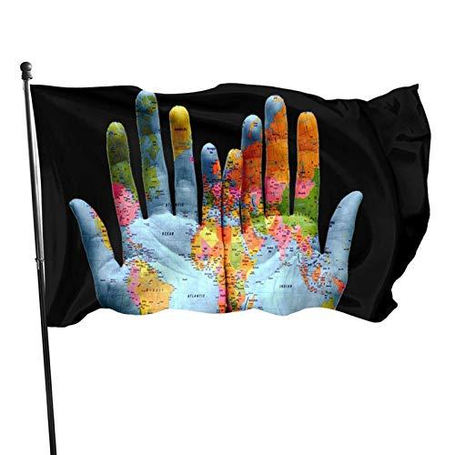 Bandera de 3x5 Ft Mapa Bandera de Palm Garden Bandera Decorativa para el hogar Bandera Bandera de Patrulla disuasoria