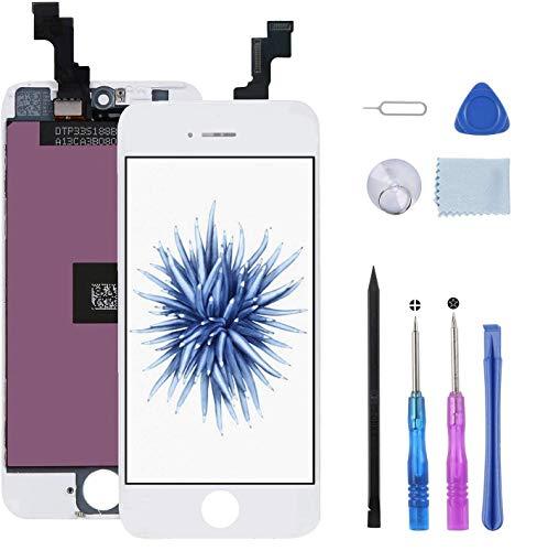 Beefix Schermo per iPhone 5S/SE Display Bianco Vetro 4,0' LCD Touch Screen Digitizer Parti di Ricambio Kit Smontaggio trasformazione Utensili Inclusi