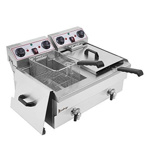 Electric Deep Fryer,24.9QT 2*1700W MAX Large Capacity Stainless Steel Faucet 2 Baskets Deep Fryer 60-Minute Timers Electric Compact Deep Fryer with Large Handle and Lid Cover for Commercial Use and Home